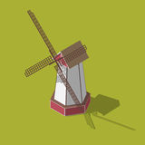 Dutch windmills isometric. Vector illustration  on a green background Stock Images
