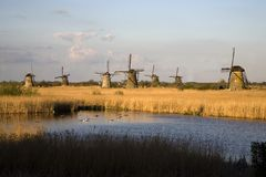 Dutch windmills in Kinderdijk Stock Photos