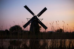 Dutch windmills in Kinderdijk Royalty Free Stock Photos