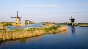 Dutch windmills in Kinderdijk Royalty Free Stock Image