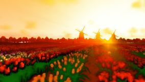 Dutch windmills and man ridding bike on a field with tulips against beautiful sunset, cartoon style 4K. Hd video stock footage