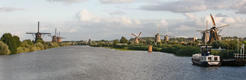 Dutch windmills near Kinderdijk, The Netherlands Royalty Free Stock Photography