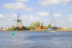 Dutch windmills over Zaan river Stock Image
