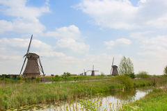 Dutch windmills in summer day Royalty Free Stock Images