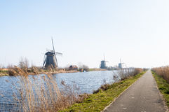 Dutch windmills in a row Royalty Free Stock Photos