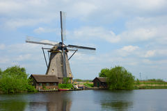 Dutch windmills in summer day Stock Photography