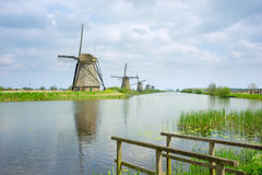 Dutch windmills in summer day Stock Image