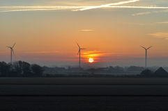 Dutch windmills at sunrise Stock Image