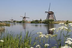 Dutch windmills Stock Photos