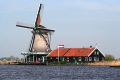 Dutch windmills in Zaanse Schans Royalty Free Stock Photo