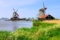 Dutch windmills of Zaanse Schans. Famous Dutch windmills along a canal at Zaanse Schans, Netherlands royalty free stock photo