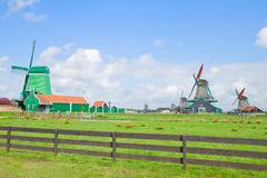 Dutch windmills with in Zaanse Schans Royalty Free Stock Photo