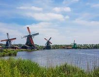 Dutch windmills at the Zaanse Schans Stock Photos
