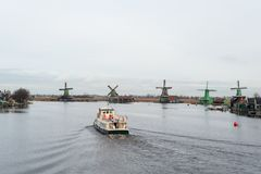 Dutch Windmills at the Zaanse Schans nearby Amsterdam Netherlands royalty free stock photography