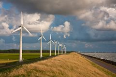Dutch Windturbines and a cloudscape Royalty Free Stock Photos