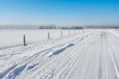 Dutch winter landscape of the farmlands Stock Photo