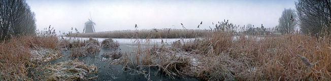 Dutch winter panorama stock photography