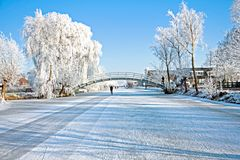Dutch winterlandscape in Netherlands Royalty Free Stock Photos