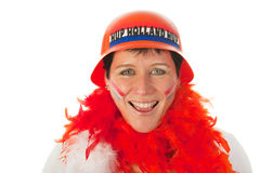Dutch woman as soccer fan Stock Photo