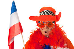 Dutch woman with flag and hat as soccer fan Stock Photos