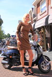 Dutch woman street fashion royalty free stock photo