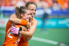 Dutch women celebrate victory Royalty Free Stock Photography