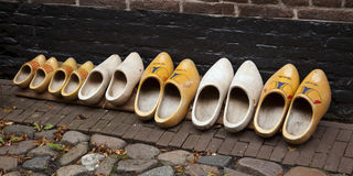 Dutch wooden clogs at a glance Stock Photography
