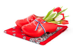 Dutch wooden clogs with tulips Royalty Free Stock Images