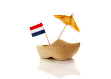 Dutch wooden shoe with netherland flag Royalty Free Stock Images
