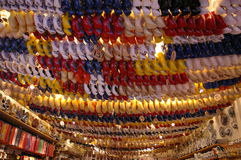 Dutch wooden shoes. Many rows of dutch wooden shoes Stock Images