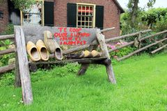 Dutch wooden shoes for sale stock photo