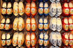 Dutch wooden shoes wall display. Traditional Dutch wooden shoes wall display in Zaanse Schans, Holland Royalty Free Stock Images