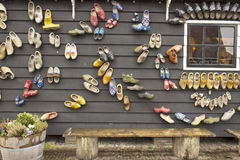 Dutch wooden shoes on the wall. Dutch traditional wooden shoes on the wall, Zaanse Schans, Holland Royalty Free Stock Image