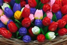 Dutch wooden souvenir tulips Stock Photos