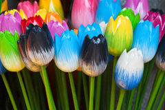 Dutch wooden souvenir tulips Royalty Free Stock Photography