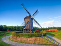 Dutch Wooden Windmill in an Old Fortified Village Royalty Free Stock Image