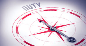 Duty against compass arrow Stock Photos