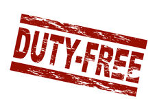 Duty-free. Stylized red stamp showing the term duty-free. All on white background Royalty Free Stock Photography
