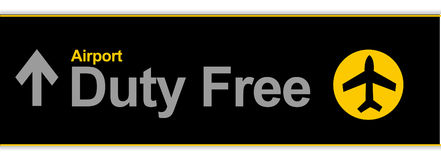 Duty free. Airport illustration sign isolated over white Stock Photos