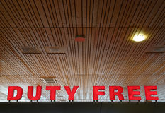 Duty Free. Red sign at an airport, reading Duty Free Stock Photos