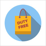 Duty-free bag flat icon Stock Photos