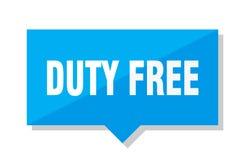 Duty free price tag. Duty free blue square price tag Stock Photos