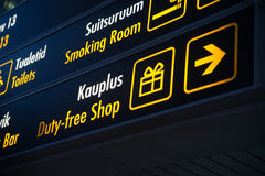 Duty Free board in Airport. Stock Image