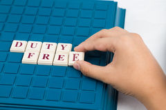 DUTY FREE concept with  alphabet on board game Stock Images
