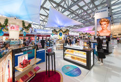 Duty free cosmetics shopping before Christmas, Bangkok airport Royalty Free Stock Images