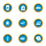 Duty free icons set, flat style. Duty free icons set. Flat set of 9 duty free vector icons for web isolated on white background Stock Photos