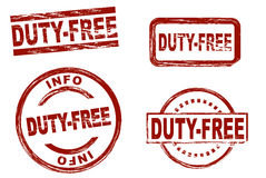 Duty free ink stamp set Royalty Free Stock Photo