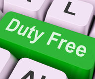 Duty Free Key Means Tax Free Stock Images