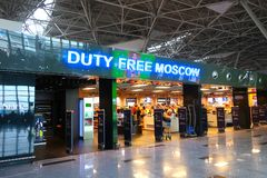 Duty free in Moscow airport Vnukovo. MOSCOW, RUSSIA - May 14, 2019: Duty free in Moscow airport Vnukovo stock photography