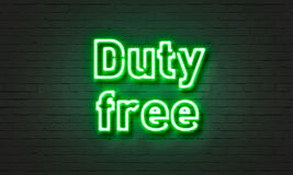 Duty free neon sign on brick wall background. Royalty Free Stock Photos
